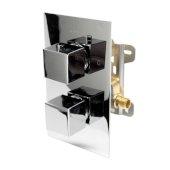 ALFI brand Square Knob 1-Way Thermostatic Shower Mixer in Polished Chrome, 5-1/4'' W x 5-3/4'' D x 8-7/8'' H