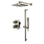 ALFI brand 2-Way Thermostatic Square Shower Set in Brushed Nickel, Shower Height: 26'' H, Spout Reach: 15-7/8'' D