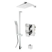 ALFI brand 2-Way Thermostatic Square Shower Set in Polished Chrome, Shower Height: 26'' H, Spout Reach: 15-7/8'' D
