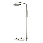 ALFI brand Square Style Thermostatic Exposed Shower Set in Brushed Nickel, Shower Height: 52-1/2'' H, Spout Reach: 18-3/8'' D, Spout Height: 47-7/8'' H