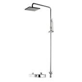 ALFI brand Square Style Thermostatic Exposed Shower Set in Polished Chrome, Shower Height: 52-1/2'' H, Spout Reach: 18-3/8'' D, Spout Height: 47-7/8'' H