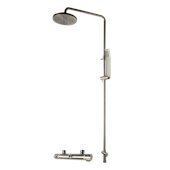 ALFI brand Round Style Thermostatic Exposed Shower Set in Brushed Nickel, Shower Height: 52-1/8'' H, Spout Reach: 8'' D, Spout Height: 47-5/8'' H