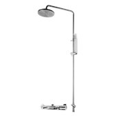 ALFI brand Round Style Thermostatic Exposed Shower Set in Polished Chrome, Shower Height: 52-1/8'' H, Spout Reach: 8'' D, Spout Height: 47-5/8'' H