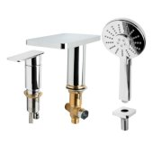 ALFI brand Deck Mounted Tub Filler with Hand Held Showerhead in Polished Chrome, Faucet Height: 5'' H, Spout Reach: 4-3/4'' D