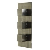 Brushed Nickel Concealed 4-Way Thermostatic Valve Shower Mixer /w Square Knobs, 12-1/2'' W x 5-5/8'' D x 2'' H