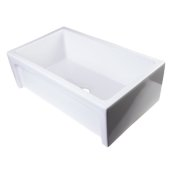 30'' White Arched Apron Thick Wall Fireclay Single Bowl Farm Sink, 30'' W x 18-1/8'' D x 10'' H