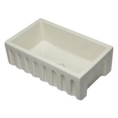 30'' Biscuit Reversible Smooth / Fluted Single Bowl Fireclay Farm Sink, 29-7/8'' W x 18-1/8'' D x 10'' H