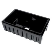 ALFI brand 30'' Reversible Smooth / Fluted Single Bowl Fireclay Farm Sink in Black Gloss, 29-7/8'' W x 18-1/8'' D x 10'' H