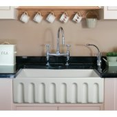 30'' White Reversible Smooth / Fluted Single Bowl Fireclay Farm Sink, 29-7/8'' W x 18-1/8'' D x 10'' H