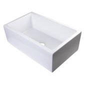 30'' White Smooth Apron Solid Thick Wall Fireclay Single Bowl Farm Sink, 30'' W x 18-1/8'' D x 10'' H