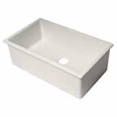 ALFI Brand AB3018UD-W 30''W White Undermount or Drop-In Fireclay Kitchen Sink, 29-7/8''W x 18-1/8''D x 10''H