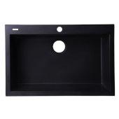 Black 30'' Drop-In Single Bowl Granite Composite Kitchen Sink, 29-7/8'' W x 19-7/8'' D x 8-1/4'' H