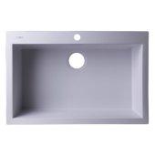 White 30'' Drop-In Single Bowl Granite Composite Kitchen Sink, 29-7/8'' W x 19-7/8'' D x 8-1/4'' H