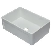 30'' White Reversible Single Fireclay Farmhouse Kitchen Sink, 29-3/4'' W x 20-7/8'' D x 9-7/8'' H