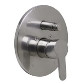 Brushed Nickel Shower Valve Mixer with Rounded Lever Handle and Diverter, 7-1/8'' Diameter x 3'' H