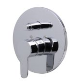 Polished Chrome Shower Valve Mixer with Rounded Lever Handle and Diverter, 7-1/8'' Diameter x 3'' H