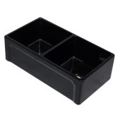 33'' Black Reversible Double Fireclay Farmhouse Kitchen Sink, 32-5/8'' W x 17-7/8'' D x 9-7/8'' H