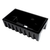 ALFI brand 33'' x 18'' Reversible Fluted / Smooth Fireclay Farm Sink in Black Gloss, 31-1/8'' W x 18-1/8'' D x 10'' H