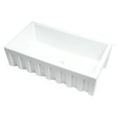 ALFI brand 33'' x 18'' Reversible Fluted / Smooth Single Bowl Fireclay Farm Sink in White, 31-1/8'' W x 18-1/8'' D x 10'' H