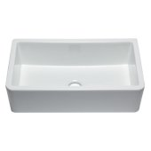 33'' White Smooth Apron Solid Thick Wall Fireclay Single Bowl Farm Sink, 32-1/4'' W x 18-1/4'' D x 10'' H