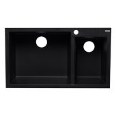 Black 34'' Double Bowl Drop In Granite Composite Kitchen Sink, 33-7/8'' W x 19-3/4'' D x 8-1/4'' H