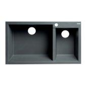 ALFI brand 34'' Double Bowl Drop In Granite Composite Kitchen Sink in Titanium, 33-7/8'' W x 19-3/4'' D x 8-1/4'' H