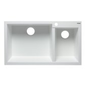 White 34'' Double Bowl Drop In Granite Composite Kitchen Sink, 33-7/8'' W x 19-3/4'' D x 8-1/4'' H