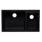 Black 34'' Double Bowl Undermount Granite Composite Kitchen Sink, 33-7/8'' W x 19-1/8'' D x 8-3/8'' H