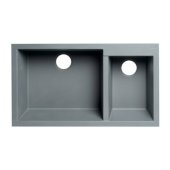 ALFI brand 34'' Double Bowl Undermount Granite Composite Kitchen Sink in Titanium, 33-7/8'' W x 19-1/8'' D x 8-3/8'' H