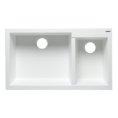 White 34'' Double Bowl Undermount Granite Composite Kitchen Sink, 33-7/8'' W x 19-1/8'' D x 8-3/8'' H