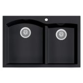 Black 33'' Double Bowl Drop In Granite Composite Kitchen Sink, 33'' W x 22'' D x 9-1/2'' H