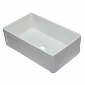 33'' White Reversible Single Fireclay Farmhouse Kitchen Sink, 32-5/8'' W x 20-1/8'' D x 9-7/8'' H