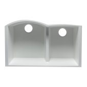 White 33'' Double Bowl Undermount Granite Composite Kitchen Sink, 33'' W x 20-3/4'' D x 9-7/8'' H