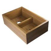 33'' Double Bowl Bamboo Kitchen Farm Sink, 32-3/4'' W x 21'' D x 9-7/8'' H