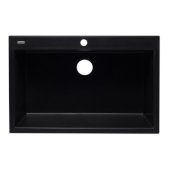 Black 33'' Single Bowl Drop In Granite Composite Kitchen Sink, 33'' W x 22'' D x 9-1/2'' H