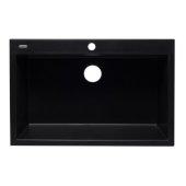 Black 33'' Single Bowl Drop In Granite Composite Kitchen Sink, 33'' W x 22'' D x 9-1/2'' H