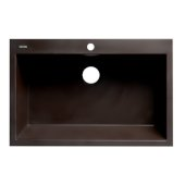 ALFI brand 33'' Single Bowl Drop In Granite Composite Kitchen Sink in Chocolate, 33'' W x 22'' D x 9-1/2'' H