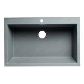 ALFI brand 33'' Single Bowl Drop In Granite Composite Kitchen Sink in Titanium, 33'' W x 22'' D x 9-1/2'' H