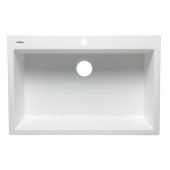 White 33'' Single Bowl Drop In Granite Composite Kitchen Sink, 33'' W x 22'' D x 9-1/2'' H