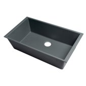 ALFI brand 33'' Single Bowl Undermount Granite Composite Kitchen Sink in Titanium, 33'' W x 19-3/8'' D x 9-7/8'' H