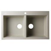 Biscuit 34'' Drop-In Double Bowl Granite Composite Kitchen Sink, 33-7/8'' W x 20-1/8'' D x 8-1/4'' H
