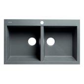ALFI brand 34'' Drop-In Double Bowl Granite Composite Kitchen Sink in Titanium, 33-7/8'' W x 20-1/8'' D x 8-1/4'' H