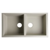 Biscuit 34'' Undermount Double Bowl Granite Composite Kitchen Sink, 33-7/8'' W x 17-3/4'' D x 8-1/4'' H