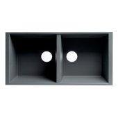 ALFI brand 34'' Undermount Double Bowl Granite Composite Kitchen Sink in Titanium, 33-7/8'' W x 17-3/4'' D x 8-1/4'' H