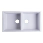 White 34'' Undermount Double Bowl Granite Composite Kitchen Sink, 33-7/8'' W x 17-3/4'' D x 8-1/4'' H