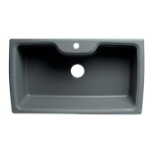 ALFI brand 35'' Drop-In Single Bowl Granite Composite Kitchen Sink in Titanium, 34-5/8'' W x 19-2/3'' D x 9-1/8'' H