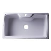 White 35'' Drop-In Single Bowl Granite Composite Kitchen Sink, 34-5/8'' W x 19-2/3'' D x 9-1/8'' H