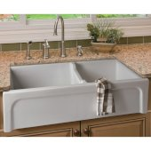 36'' White Arched Apron Thick Wall Fireclay Double Bowl Farm Sink, 36'' W x 18-1/8'' D x 10'' H