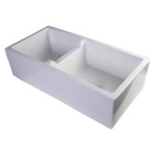 36'' White Smooth Apron Thick Wall Fireclay Double Bowl Farm Sink, 36'' W x 18-1/8'' D x 10'' H