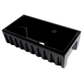 ALFI brand 36'' Reversible Smooth / Fluted Single Bowl Fireclay Farm Sink in Black Gloss, 35-7/8'' W x 18-1/8'' D x 10'' H